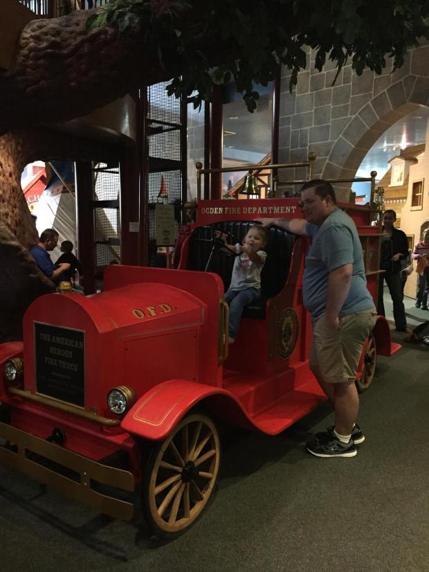 Driving the firetruck.