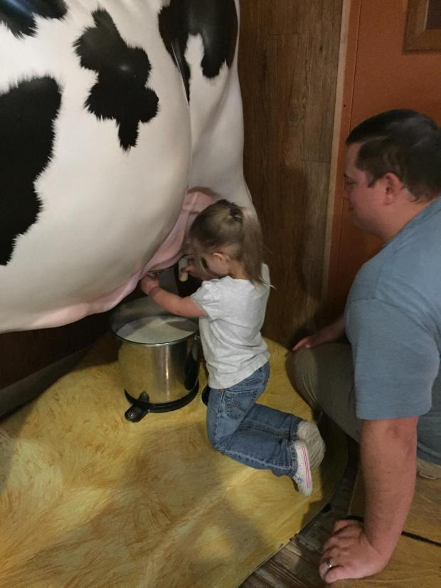 She learned to milk a cow!