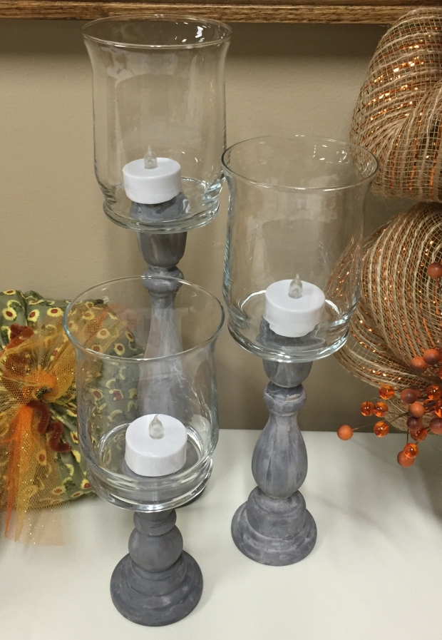 Wooden Candle Holders Set of 3 for $21